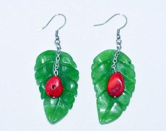 Jade Leaf Pierced Earrings / Stainless Steel Chain&Hook