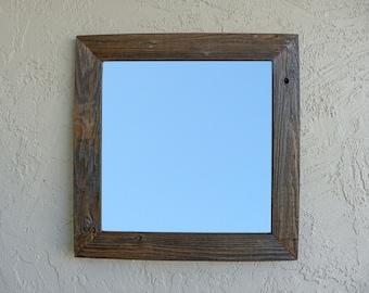 Reclaimed Wood Large Mirror. 30x30. Rustic Wall Mirror. Vanity Mirror. Farmhouse Mirror. Bathroom Mirror. Large Wall Mirror. Rustic Mirror.