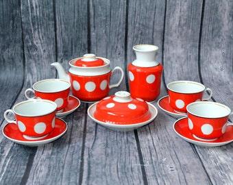 Polka Dot Tea Set, Red White kitchen, Ukrainian porcelain, retro tableware, Russian kitchen, retro kitchen,