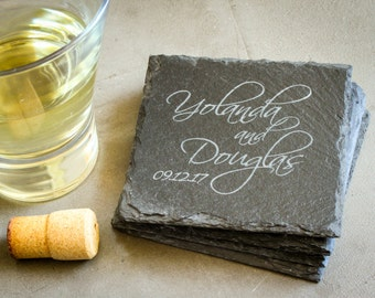 Personalized Coaster Gift Set, Custom  Coasters, Custom Engraved Slate Coaster Set: Wedding Shower, Housewarming Gift, New Couple