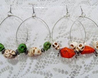 Day of the Dead Earrings - Sugar Skull Earrings - Teardrop Dangle Earrings - Southwestern Jewelry