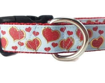 Valentine Dog Collar, Boy Hearts, 1 inch wide, adjustable, quick release, metal buckle, chain, martingale, hybrid, nylon