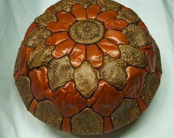Ottoman leather pouf