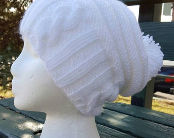 White slouchy hat / White beanie / White slouchy hipster hat / Oversized winter hat / White hipster hat / Cable knit hat