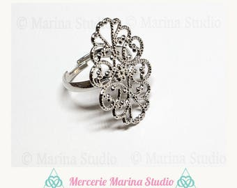 Filigree flower Adjustable ring silver ring