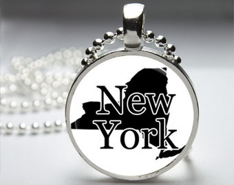 New York Round Pendant Necklace with Silver Ball or Snake Chain Necklace or Key Ring