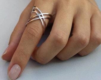 X Ring / Criss Cross Ring /  Gold X Ring /  Sterling Silver X Ring / Thin Silver Ring / X Rings  / Daily Ring / Christmas Gift / Blackfriday