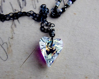 Crystal Heart Necklace, Swarovski Heart, Pendant Necklace, Rainbow Prism, Heart Pendant, Sterling Silver