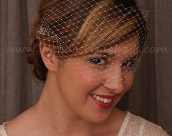 Birdcage Veil, Venetian Veil, Unfinished Edges, Bridal Veil, Wedding Veil