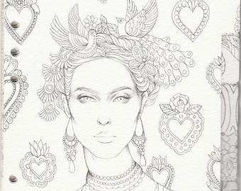 My Prima Planner Set#3 Prima Princesses Coloring Tabbed Dividers Watercolor Paper Tab Coloring 6.5in x 8in 12-pc 92790