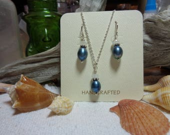 Large Teal Pearl Necklace with Moonstone on Sterling Silver Chain