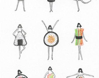 Sushi Ladies - Giclée Print