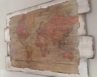 Antique World Map on Painted and Distressed Reclaimed Wood