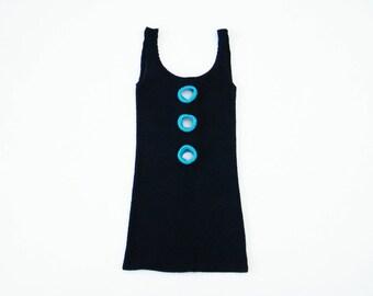 90s Club Kid Key Holes Mini Dress, Popcorn Black Dress, Cyberpunk Dress, Key Hole Crushed Fabric Dress, Neon Mini Dress, Industrial Dress
