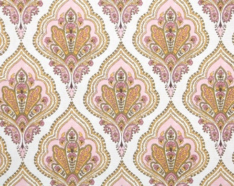 Retro Wallpaper by the Yard 60s Vintage Wallpaper - 1960s Pink Orange and White Damask