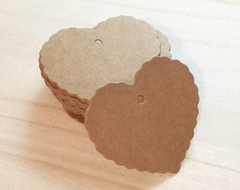 Scallop Heart Blank Tags - Brown Kraft / White (50 pcs) Favor Tags Swing Tags Card Blanks