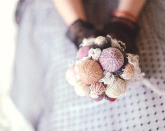wedding decor - alternative bouquet - knit wedding - rustic chic - wedding bouquet - lace bouquet - rustic bouquet