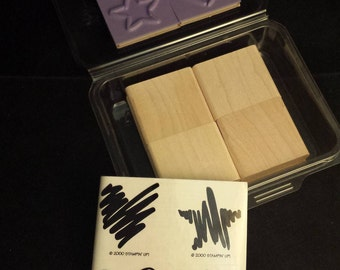 """2000 Stampin' Up! Unused / Unmounted Stamp Set """"Two-Step Stampin' Scribbles"""", 4 Stamps"""