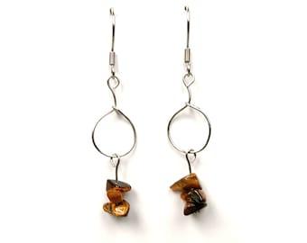 Geometric jewelry, tiger eye earrings contemporary modern jewelry geometric dangle earring gemstone jewelry modern contemporary earring ylic