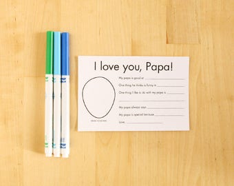 I love you Papa printable cards - Personalized Grandparent Gifts for Papa - Kids Craft