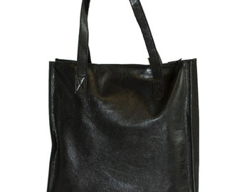 Black Leather Tote | City Shopper Bag