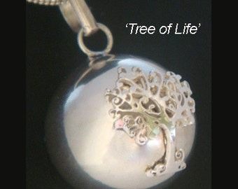Unique Harmony Ball with a Stunning Tree of Life on the 925 Sterling Silver Highly Polished Ball   Bola Necklace, Angel Caller