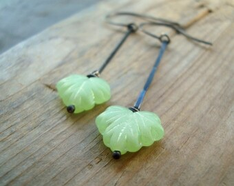 Mint Green Ivy Leaf Earrings Oxidized Sterling Metalworked Woodland Jewelry Spring Jewelry Nature Inspired Gifts For Her Bridesmaids