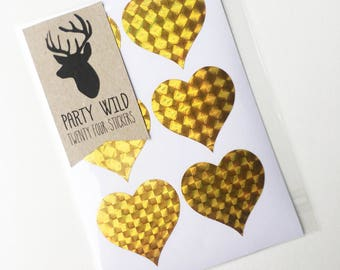 Heart Stickers Pk24 - Holographic Gold