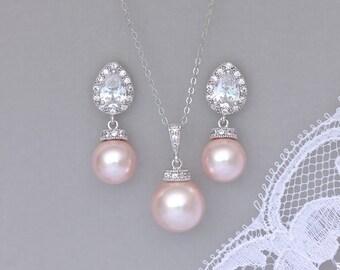 Pink Blush Pearl Jewelry Set, Pink Pearl Bridal Set, Pearl Bridesmaids Jewelry Set, Wedding Jewelry Set, SISSY 3