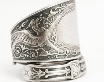 Griffin Ring, Sterling Silver Spoon Ring, Griffon Ring, Silver Dragon Ring, Sterling Dragon Jewelry, Arabesque, Adjustable Ring Size (6509)