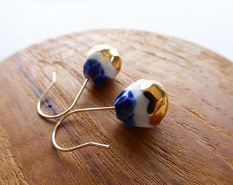 Gold Dipped Watercolour Faceted Drop Hook Earrings