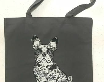 Tote bag Tattoo Dog grey