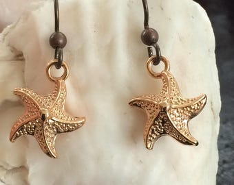 Niobium earrings rose gold starfish perfect sensitive ears gift solution