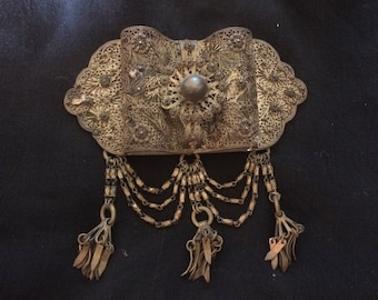 An Antique Filigree Brass Belt Bucke, Totally Handmade - 1800