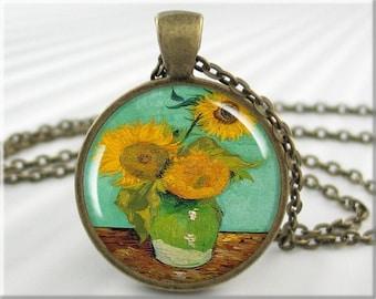Van Gogh Sunflower Pendant, Vincent Van Gogh Art Charm, Three Sunflowers Resin Vintage Art Pendant, Round Bronze, Art Lover Gift 122RB