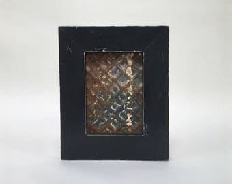 """Picture Frame 5"""" x 7"""" Handmade with Reclaimed Wood and 19th Century Ceiling Tin"""
