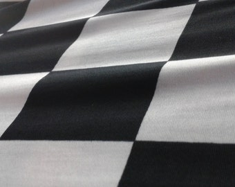 Black and White Checkerboard Poly Spandex Fabric By The Yard