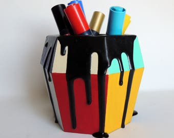 Colorful wooden container/planter with dripping paint effect