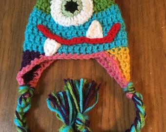 Three Horned Monster Earflap Hat