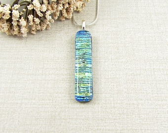Thin Green and Blue Dichroic Pendant -  Blue-Green Fused Glass Necklace - Dichroic Glass Jewelry - Thin Dichroic Necklace