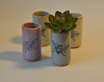 Succulent Tumbler, Shot Glass, Toothpick Holder, Q Tip Holder, Handmade Pottery, Bee Themed