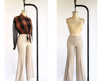 1970's Windowpane Plaid Flair Trousers