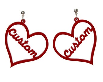 Personalised heart name earrings - laser cut acrylic