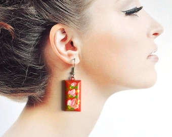 Red earrings gift ideas for women red jewelry folklore Dangling Earrings rectangular earrings Red pink flower Earrings handmade Earrings eco