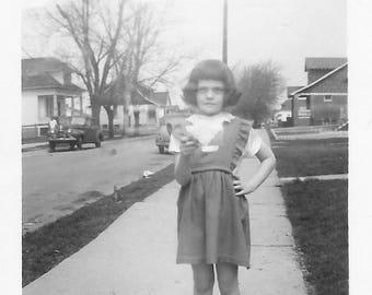"Vintage Snapshot ""Annoyed Little Girl"" Frown Hand On Hip Found Vernacular Photo"