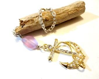 Anchor Car Mirror Charm, Purple Beach Charm for Car, Sea Glass Rear View Mirror Charm, Lilac Car Accessories, Car Necklace, Beach Lover Gift