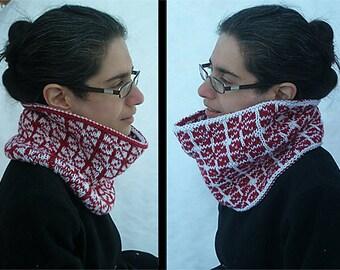 """Reversible adult cowl (""""Jianzhi"""") knitting pattern (PDF)"""
