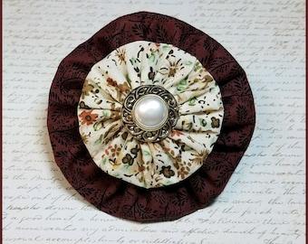 Yo-Yo Wine and Floral Vintage Style Hair Bow / YoYo Flower / Clip / Yo Yo Fabric & Button