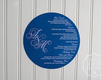 Midnight Blue Round Menu • Circle Menu • Any Size ROUND MENU • Charger Menu • Reception Menu Cards • Menu Card Inserts