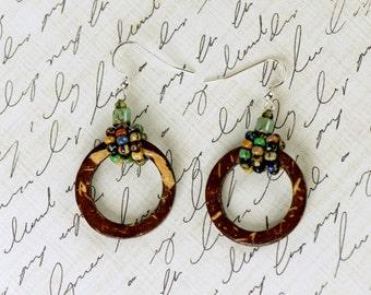 Wood Hoop Earrings, Tribal Earrings, Ethnic Earrings, Boho Earrings, Statement Earrings, Seed Bead Earrings, Hoop Earrings, Boho Jewelry